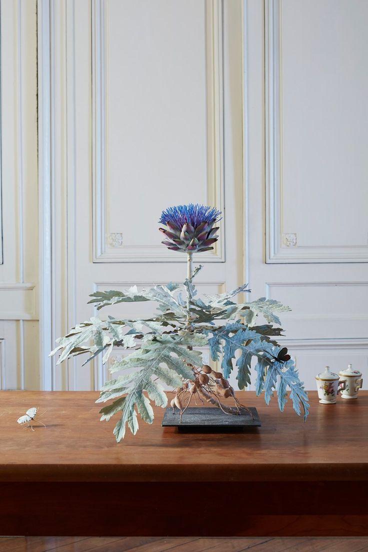 A metal flower sculpture by Carmen Almon | archdigest.com