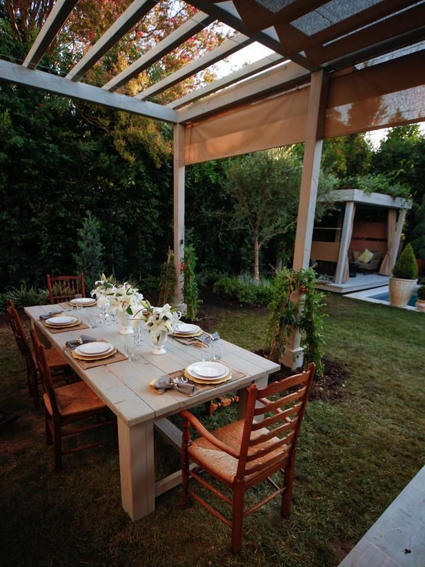 outdoor dining room table | Outdoor Dining Space with Pergola and Rustic Table : Designers ...