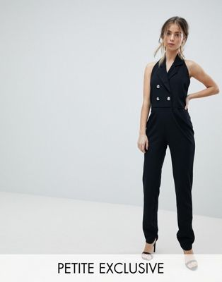 4f699302915d John Zack Petite Tuxedo Jumpsuit With Collar Detail