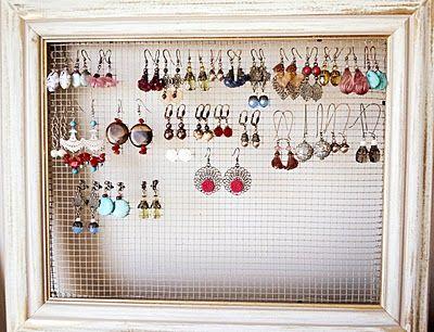 DIY Jewelry Display Frame.