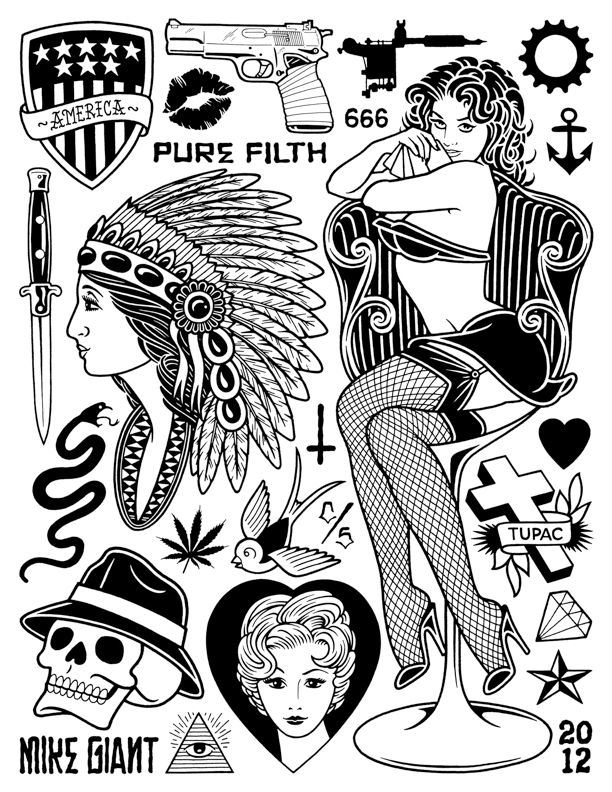 TheDeadBirdProject™ — PUREFILTH X Mike GIANT Temporary Tattoo Set