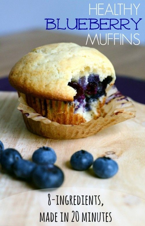 Healthy Blueberry Muffins... 8 ingredients and made in 20 minutes. Perfect for breakfast, snack or dinner.