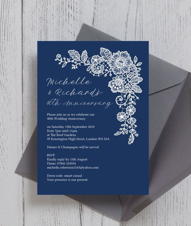 33 best wedding anniversary personalised invitations images on navy blue floral lace personalised wedding anniversary party invitations printed or printable pdf stopboris Image collections