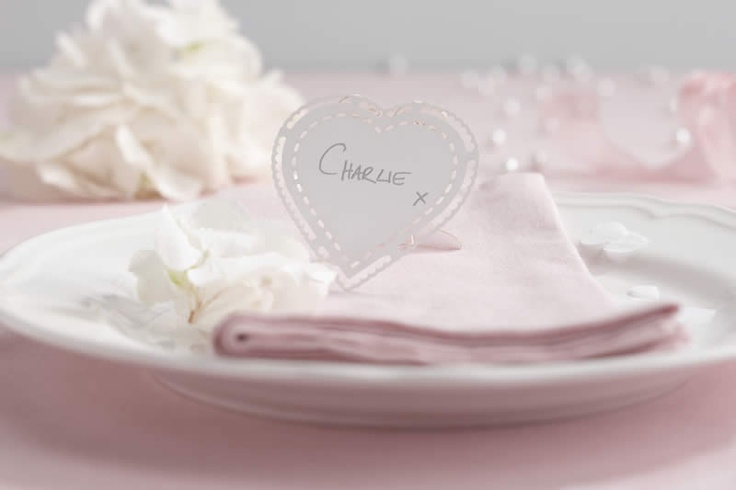 Stand alone heart shaped place cards with pretty laser cut edging. The perfect addition to any table setting. Pack of 10.