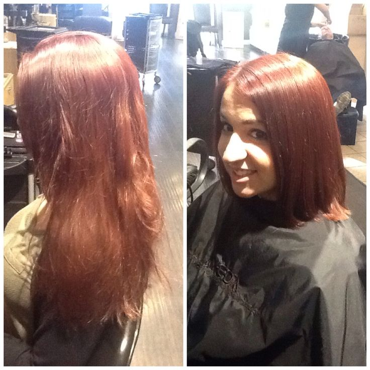 Hair by Kendra. Went from long locks to a beautiful bob, with long layers. To book an appointment with Kendra, call (780) 467-3288 or visit our website at www.sylviaco.com. Located in Sherwood Park, Alberta, Canada.