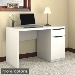 Montrese Closed Storage in Pure White Finish Computer Desk | Overstock.com Shopping - The Best Deals on Desks
