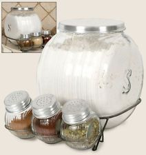 Vintage Style Hossier Glass Sellers Four Jar and Spice Rack