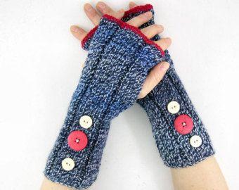 luvas sem dedos malha vegan punhos brancos azuis aquecedores de aquecedores de braço malha fingerles luvas com nervuras azul vermelha com botões