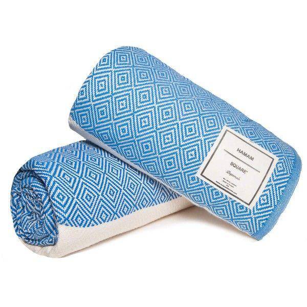 Hamam Square - Diamond Turkish towel Royal Blue ($41) ❤ liked on Polyvore featuring home, bed & bath, bath, bath towels, colored bath towels, light weight bath towels, royal blue bath towels, fringed bath towels and lightweight bath towels