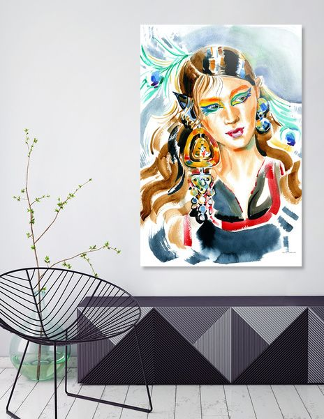 Discover «Girl with bright makeup, big earrings and peacock feathers», Numbered Edition Acrylic Glass Print by Irina Ivanova - From $75 - Curioos