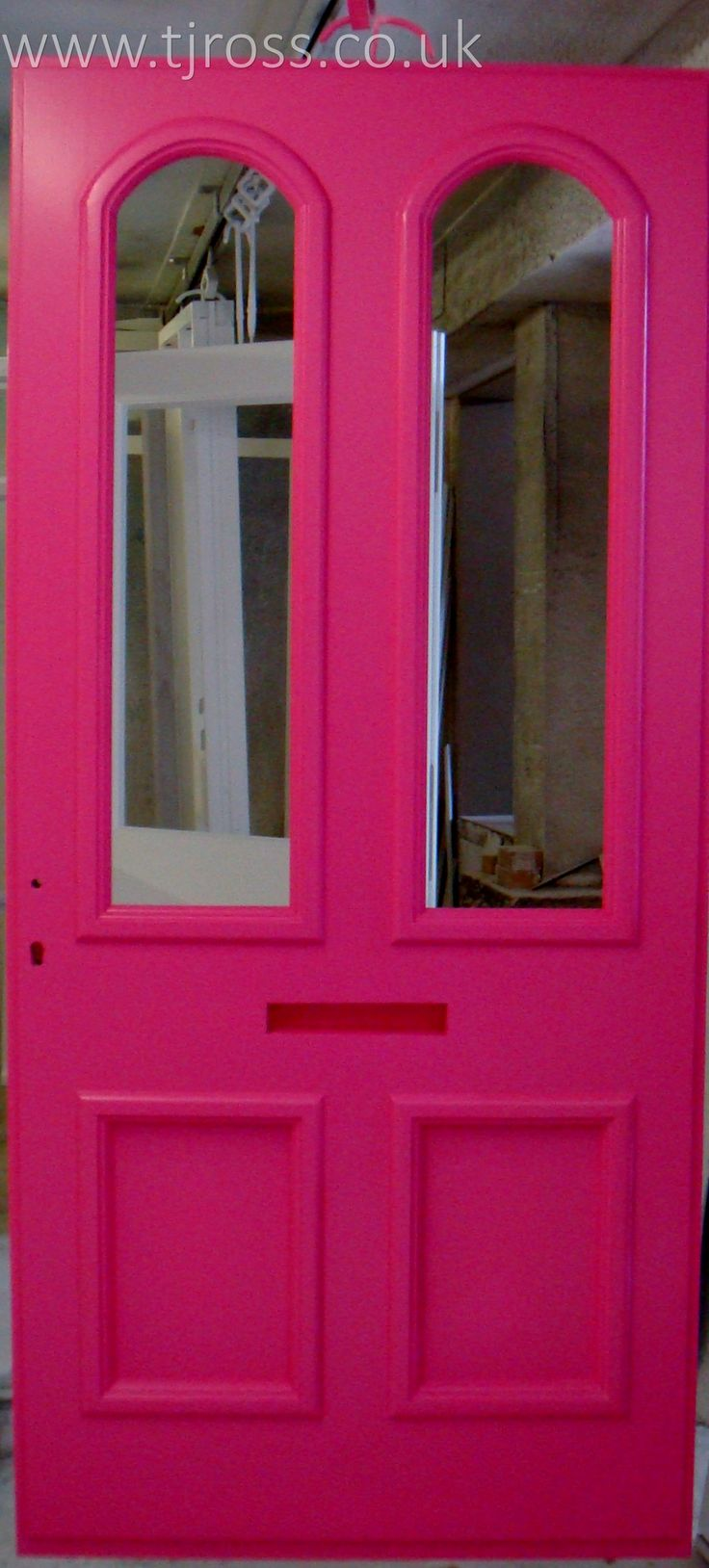 If you want it we can make it!  Hot Pink door in our spray shop! External door, painted door Farrow & Ball paint, RAL colours, entrance door