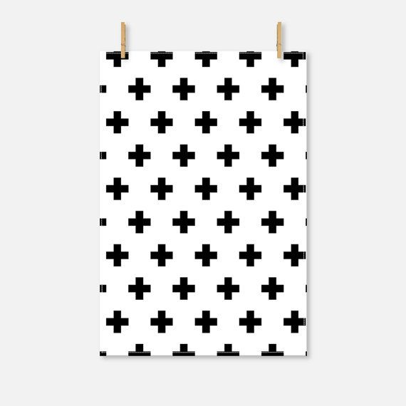 Swiss Cross Tea Towel Organic Tea Towel Black by RiverOakStudio
