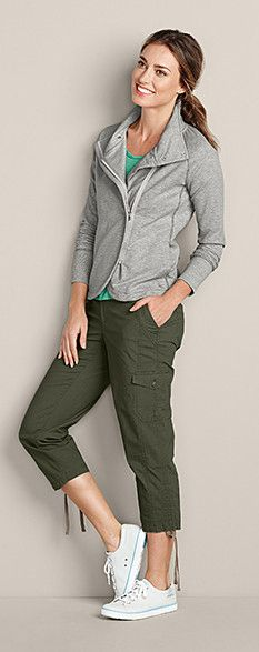 Versatility is the name of the game with this look: VVersaknit Short Jacket, Essential Slub Short-Sleeve Scoop-Neck T-Shirt, Slightly Curvy Adventurer® Stretch Ripstop Cropped Pants, & Eddie Bauer Chroma Lace-Ups. #EddieBauer