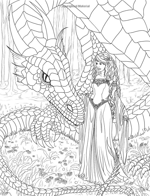 artist selina fenech fantasy myth mythical mystical legend elf elves dragon dragons fairy fae wings fairies mermaid colouring pagesdetailed
