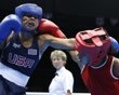 File photo of Magliocco of Venezuela fighting Esparza of U.S. during their quarterfinal Women's Fly boxing match at London Olympic Games