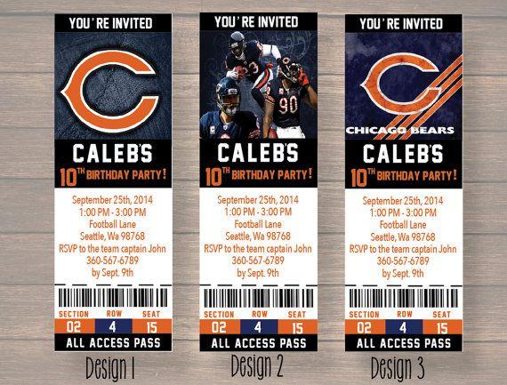 Chicago Bears, Custom Party Ticket Invitations, Birthday Invitation, Chicago Bears Birthday Ticket
