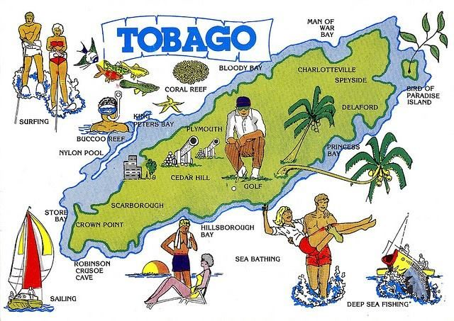 It's map-mania! What activities have you done from the ones displayed on this vintage map of Tobago? - TB   #Tobago #Map #TobagoMap #TobagoBookings #TrinidadandTobago #Trinidad #Caribbean