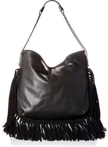 Steve Madden BMADLY Hobo Shoulder Bag with Suede Hanging Fringe (Black)