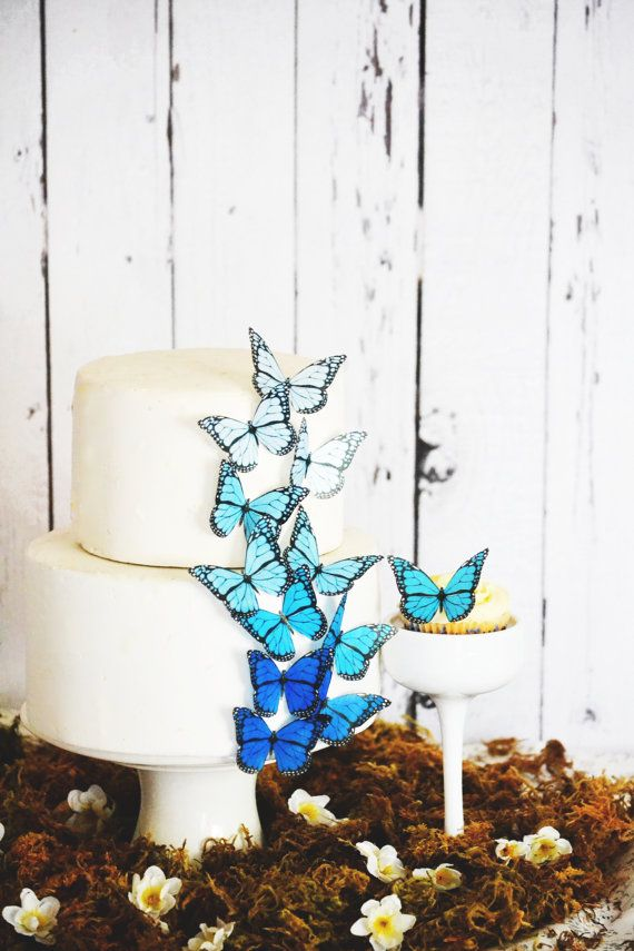 Wedding Cake Topper Edible Ombre Monarch Butterflies - Wedding Cake Topper -  Edible Decorations for Cakes and Cupcakes - Large Blue Shown, $8.95