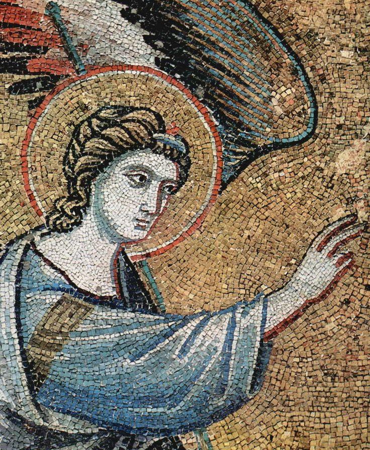 Пьетро Каваллини . «Цикл мозаик с шестью сценами из жизни Марии в церкви Санта Мария в Трастевере в Риме, Благовещение. Деталь». 1291 г.