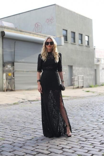 If you got an invitation to a formal winter wedding, but you're not very experienced in black tie attire, a beautiful black gown is always chic. #winter #style