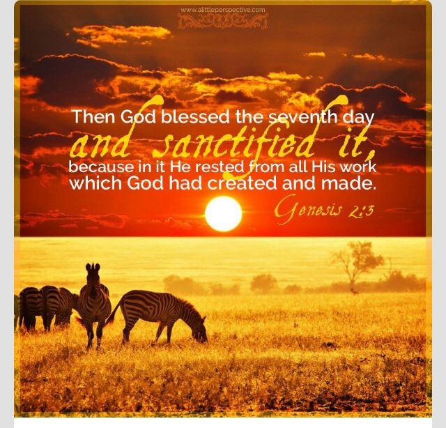 Genesis 2:3 And God blessed the seventh day, and sanctified it: because that in it he had rested from all his work which God created and made.