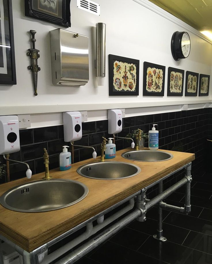 Industrial sink unit in our tattoo studio basement renovation. Circle of swords, worcester.