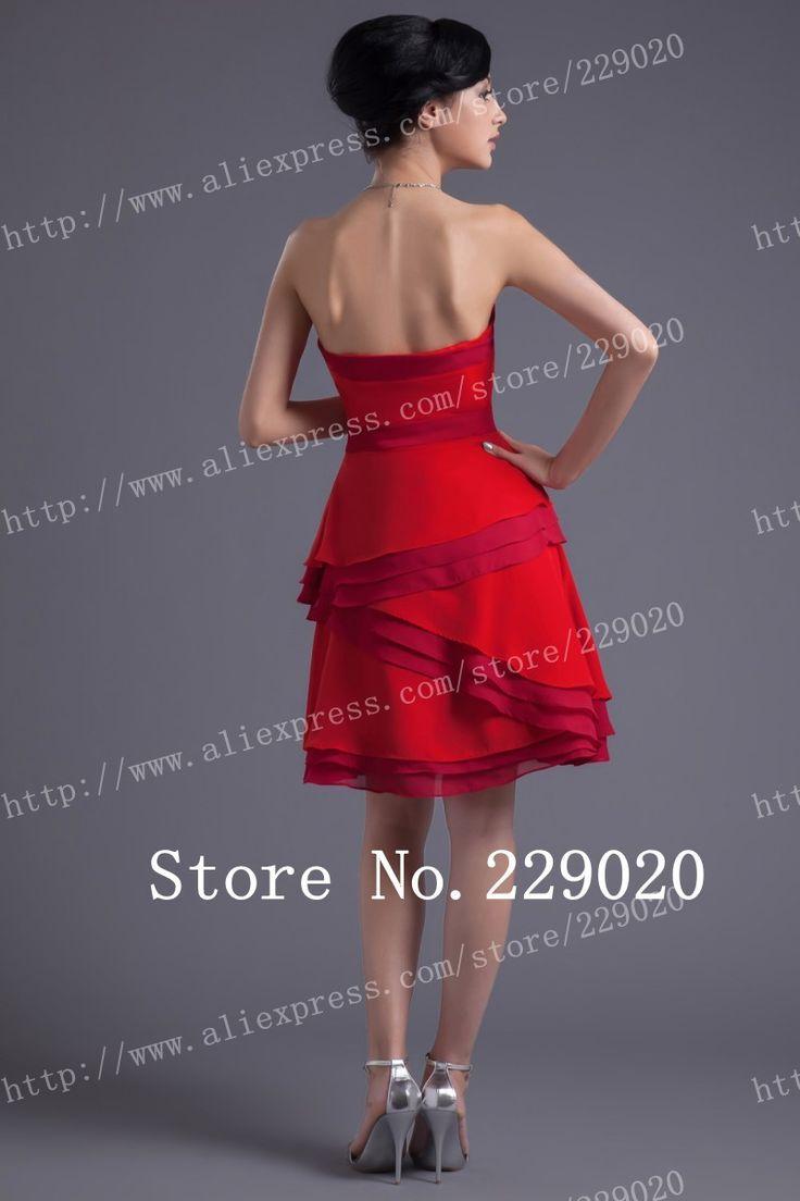 Simple sexy un línea sin tirantes de rodilla longitud de gasa de color rojo regreso a casa de vestidos de en de en Aliexpress.com