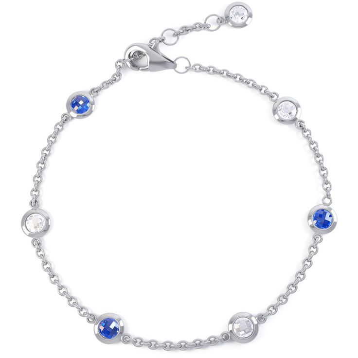 By the Yard Blue and White Sapphire Platinum plated Silver Bracelet