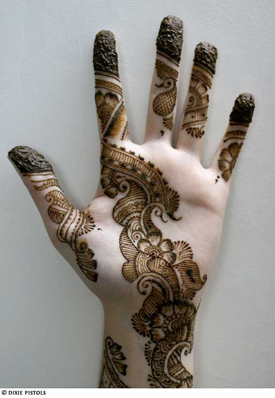 Henna lines and teardrops on Hand