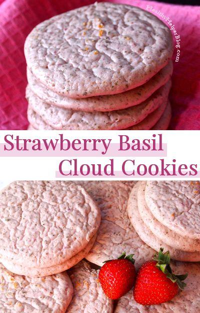 Strawberry Basil Cloud Cookies • Healthy Helper #recipe #healthy #sugarfree #glutenfree #highprotein #cookies #snack #healthysnacks #ad #fitfluential #bowflexbody
