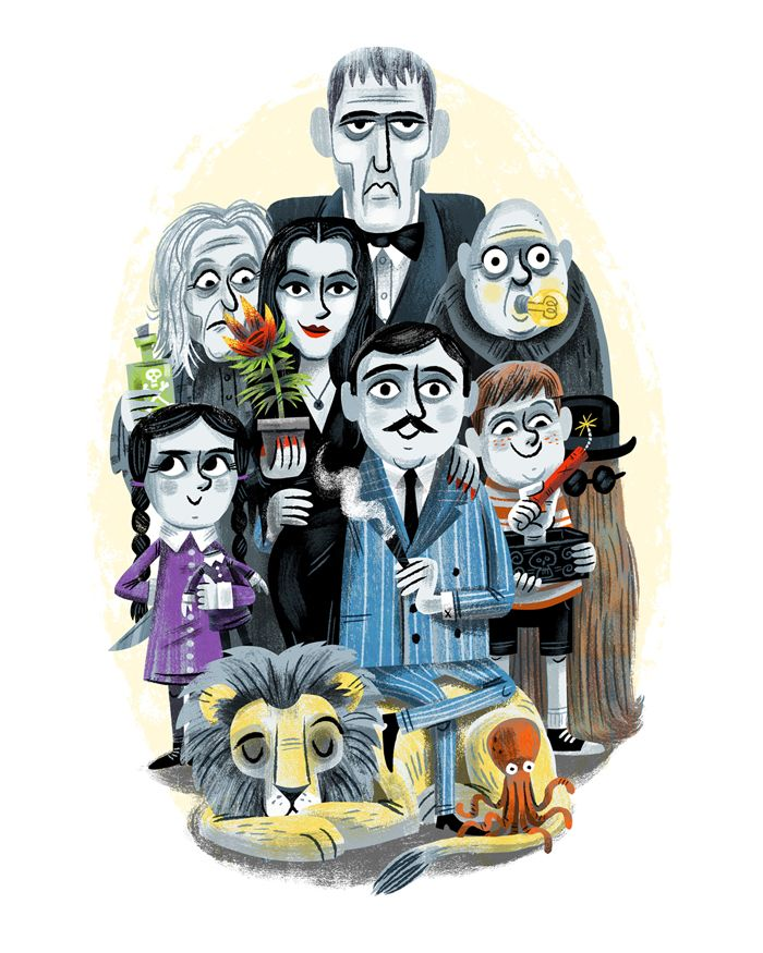 All Together Ooky Idiot Box Show Gallery 1988 Luke Flowers Addams Family Cartoon Family Art Family Cartoon