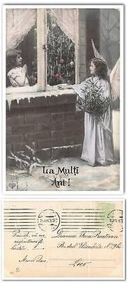 cp899 Old postcard Romania 1908 Angel girl Christmas tree handpainted tinted