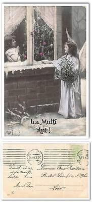 cp899 Old postcard Romania 1908 Angel girl Christmas tree handpainted tinted