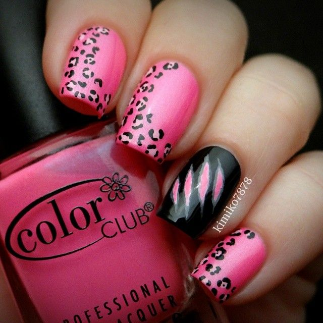 735 best nail art fun funky creative images on pinterest bright pink nails with abstract leopard print and a black claw rip design on the accent nail prinsesfo Choice Image