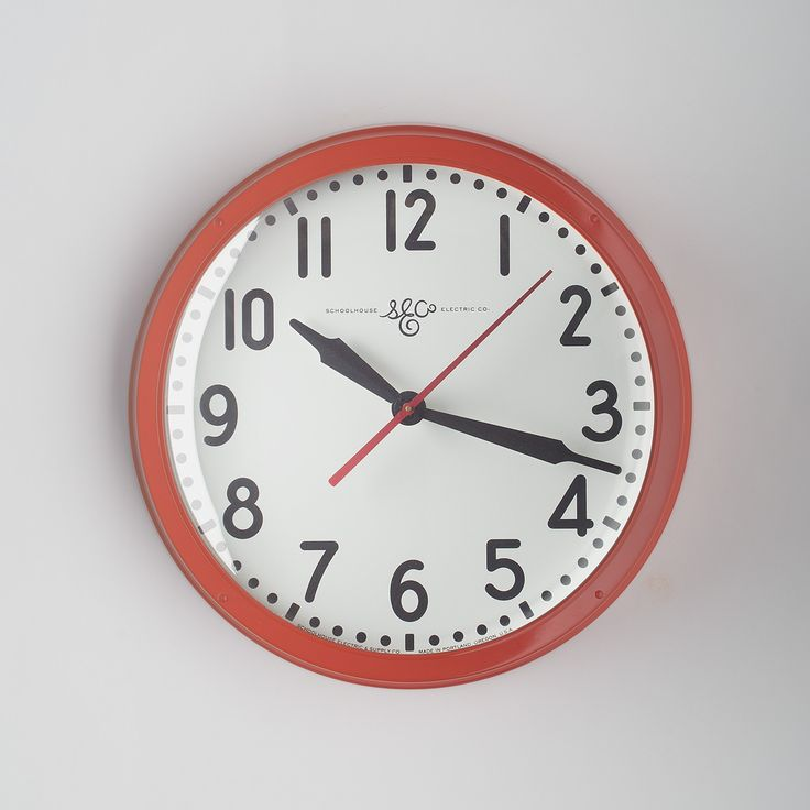 There's a reason vintage industrial clocks are so coveted. They were built to last. Hand-assembled in our Portland, Oregon factory, the Schoolhouse Electric wall clock is constructed with a spun steel case, domed glass lens and steel dial. The hands are operated by quartz movement with a red, continuous sweep second hand. A Schoolhouse Electric Exclusive.  Requires one C battery, included Built with keyhole slot for easy wall mounting