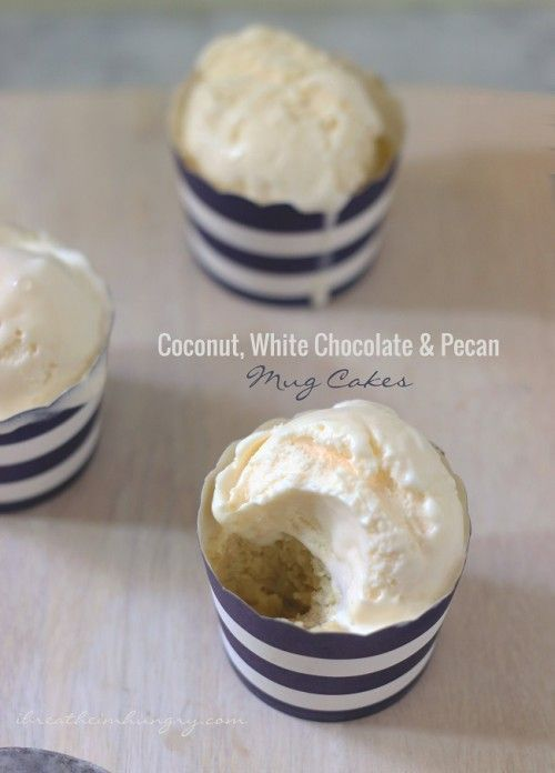 White chocolate pecan mug cake! A delicious and easy low carb and gluten free mug cake recipe loaded with coconut, pecans, and white chocolate chips! Gluten free, Keto, Low carb.