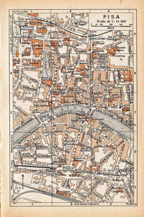 Vintage city map, Pisa, Italy.