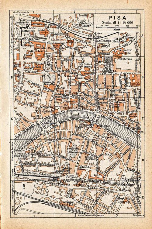 Vintage city map, Pisa, Italy.