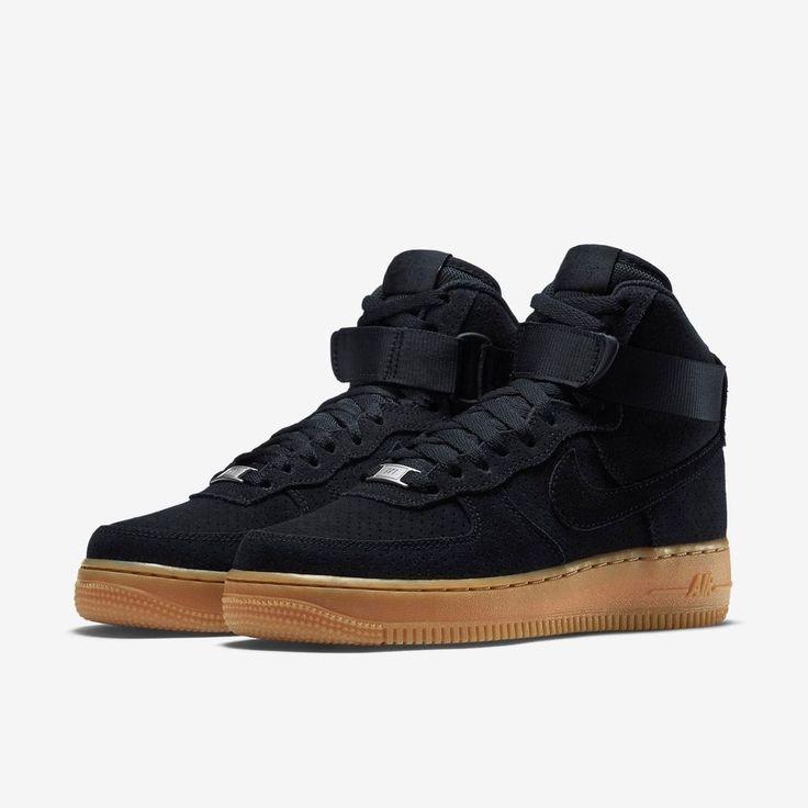 Nike Women's Air Force 1 HI Suede Shoes 749266 001 Sz 7 7.5 $110 Black Gum PRM #Nike #HiTopTrainerBoots
