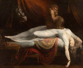 Le cauchemar Johann Heinrich Fussli, symbolisme. La toile dépeint une femme et e contenu de son cauchemar ( un incube - démon - et un cheval se référent au folklore de l'époque concernant les cauchemar ). Certains critiques y ont aussi vu une interprétation sexuelle anticipant les idées freudienne au sujet du subconscient et des fantasmes refoulés présent dans les rêve.