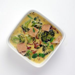 This classic bacon cheddar broccoli soup recipe uses the modernist ingredient of sodium citrate to help it stay together without diluting the flavor of the cheese with flour and other starches. - Amazing Food Made Easy