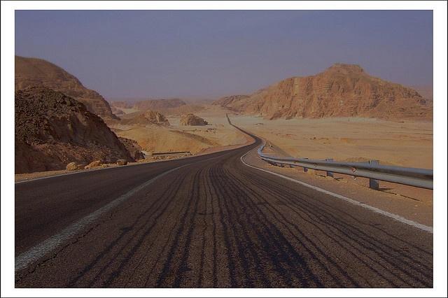 road through the Sinia mountains in Egypt