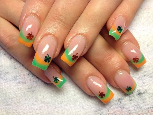 Shamrock nail art - green and orange tips, clear beds and single tiny  shamrock at - 74 Best Irish-inspired Nail Art♧`•.¸¸.•´´:••.¸¸.• ´¯`•♧ Images