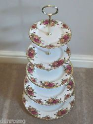OLD COUNTRY ROSES 5-TIER CAKE STAND, VERY IMPRESSIVE,GOOD CONDITION ROYAL ALBERT