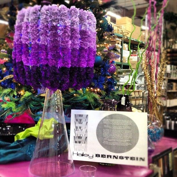 Ombre lampshade centerpiece made with purple carnations by