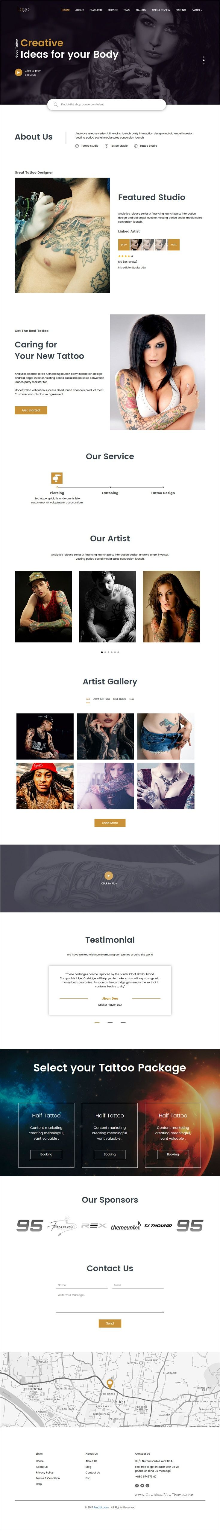 Tattoo zone is a clean & modern design responsive HTML #bootstrap theme for #tattoo shop, #barbershop or design agencies website download now➩ https://themeforest.net/item/tattoo-zone-multipurpose-html-template/19678722?ref=Datasata