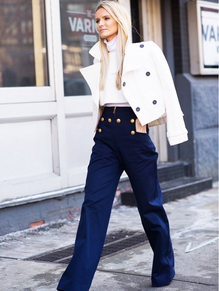 navy pants white blazer