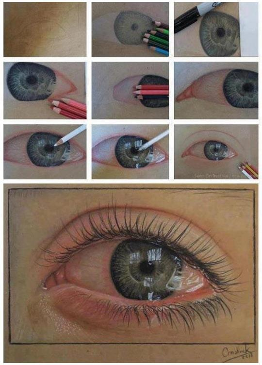 An ultra-realistic eye drawn using just pencils…