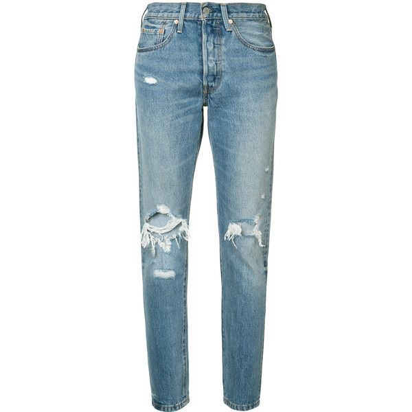 Levi's distressed high-rise jeans ($98) ❤ liked on Polyvore featuring jeans, pants, bottoms, pantalones, blue, high-waisted jeans, blue ripped jeans, destruction jeans, high waisted ripped jeans and high waisted destroyed jeans